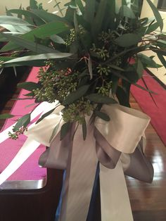 Pew Bouquet of different types of Eucalyptus