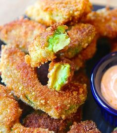 Amazing Avocado Fries - Here is a fun new way to eat delicious avocados. Avocados are healthy and a super food. They are creamy and full of vitamins, potassium and fiber. I was looking for a new way to cook it and I found this. Oh the joy! It is amazing and I decided to share it with you guys. Enjoy!