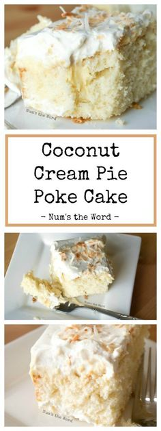 *VIDEO* Coconut Cream Pie Poke cake is a traditional cake topped with my favorite old fashioned coconut cream pie filling, whipped cream and toasted coconut. The best of both worlds! for parties Coconut Cream Pie Poke Cake 13 Desserts, Coconut Desserts, Coconut Recipes, Baking Recipes, Recipes With Coconut Cream, Whipped Cream Desserts, Whipped Butter, Healthy Desserts, Healthy Recipes