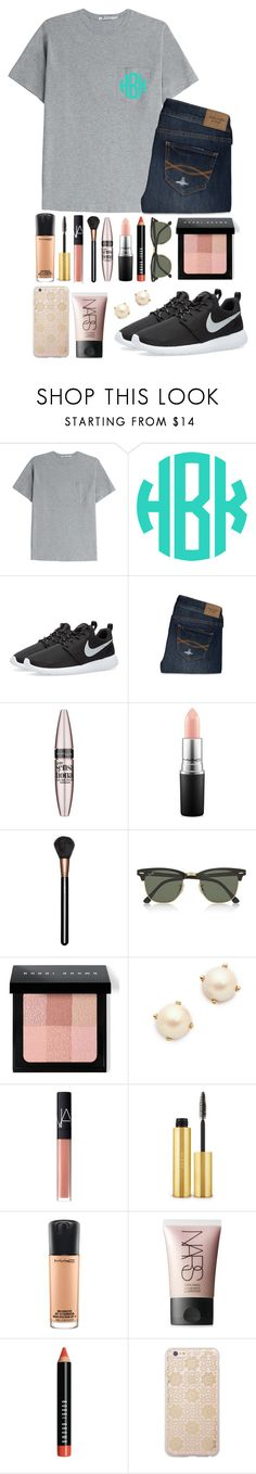 """""""got to get down on THURSDAYY"""" by izzyforet ❤ liked on Polyvore featuring T By Alexander Wang, NIKE, Abercrombie & Fitch, Maybelline, MAC Cosmetics, Ray-Ban, Bobbi Brown Cosmetics, Kate Spade, NARS Cosmetics and AERIN"""