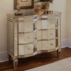 3-Drawer Curved Mirrored Chest - Credenzas at Hayneedle