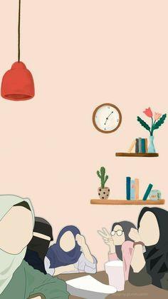 Cartoon Girl Images, Cartoon Art Styles, Cute Backgrounds, Cute Wallpapers, Book Cover Background, Hijab Drawing, Friend Cartoon, Islamic Cartoon, Cute Muslim Couples