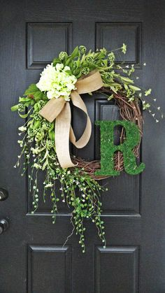 "Smaller Version of The ""Louisa"" Wreath :) Intricate Designed Summer Wreath, French Country Wreath, With Moss, Burlap and Hydrangeas .get rid of the ""R"" Front Door Decor, Wreaths For Front Door, Door Wreaths, Ribbon Wreaths, Yarn Wreaths, Floral Wreaths, Burlap Ribbon, Wreath Crafts, Diy Wreath"