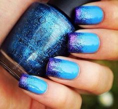 Blue glitter mani