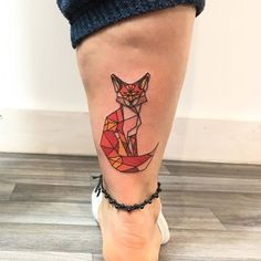 Colored Geometric Fox Tattoo by 0_joc_0
