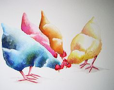 """An original watercolour CHICKENS painting by artist Maria Moss. A4 size painting 12"""" x 8.5"""""""