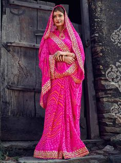 Magenta Georgette Printed Saree With Blouse 89773