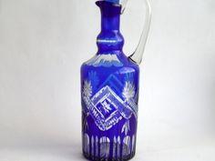Bohemian Crystal Decanter - Claret Jug - Extra Large - Cobalt Blue cut crystal glass, Bohemia
