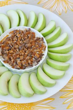 Caramel Cream Cheese Apple Dip. I am so glad the apples are healthy!