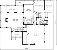 Floor Plans - Lockwood Place - Caldwell/Cline Architects | Southern Living House Plans. Two bed rooms upstairs with full bath. Customize: top of living room into another room upstairs.