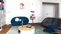 Salon coloré au design contemporain dans un appartement de style haussmannien à Bordeaux. Canapés Ploum de Ligne Roset, console Diva Ibride, tapis Brume Toulemonde Bochart, Table basse Moon Universo Positivo