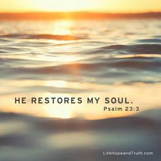 """He restore my soul"" psalm Bible verse # faith # God Bible Verses Quotes, Bible Scriptures, Faith Quotes, Biblical Quotes, Spiritual Quotes, And So It Begins, God Jesus, God 7, Lord Is My Shepherd"