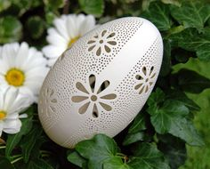Eggshell of Polish goose - handmade sculpted #03 - transparent easter carved egg ornament decoration unique gift pysanka ażurowa pisanka by CEMBOLA on Etsy