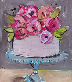 Cake Painting with Flowers canvas wall art by DevinePaintings