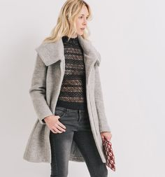 Mantel aus Wollmischung grau - Promod, 99€