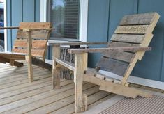 DIY deck chairs from pallets Wooden Pallet Furniture, Diy Furniture Projects, Furniture Making, Outdoor Furniture, Pallet Wood, Diy Projects, Wooden Decks, Wooden Diy, Patio Chairs