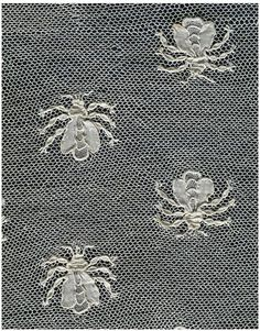Beautiful. An very Napoleonic. c1805-10 | Victoria & Albert Museum| A fichu covered the neck and shoulders. This one has been cut from a larger piece of needle lace. It may be related to a set of bed hangings, decorated with bees. (The bee was a Napoleonic symbol.) These bed hangings were originally made at Alençon in France for the Empress Josephine, consort of the Emperor Napoleon, in about 1809. They are now in the Brooklyn Museum, New York. 3544-1852