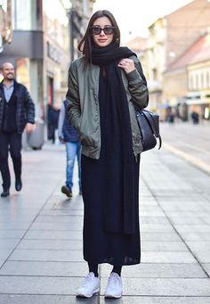 black long dress black scarf bomber jacket street style