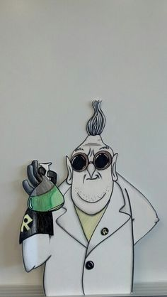 My daughter drew the Despicable Me scientist for my classroom career board! She is SO talented!