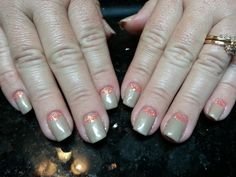 Taupe with Orange glitter