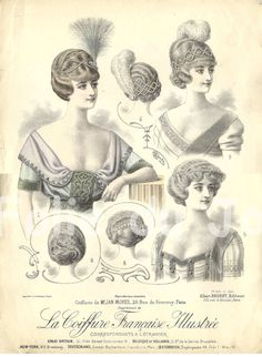 Antique French edwardian hairstyles plate 1910s  La by FolieduJour, $24.00