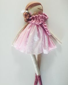 Image of Handmade cloth doll. Pretty in pink 3