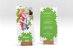 """Menükarte Hochzeit """"Puzzle"""" DIN lang hoch gruen"""