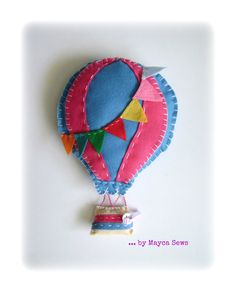 Hot Air Balloon Wall Decor. For nursery or kids room. Blue and pink. Summer decor. Felt.. $18.00, via Etsy.
