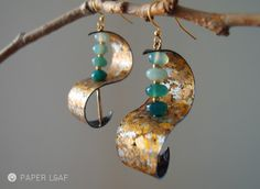 Paper Leaf | GreenWave_07 | paper earrings | cotton paper, faux gold leaf, agate
