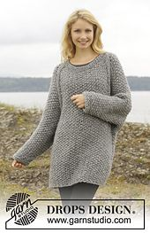Free pattern on Ravelry: 157-27 Day After Day by DROPS design - Comfy grey simple long sweater/pullover