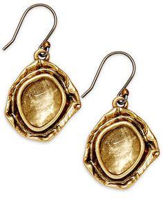 Lucky Earrings, Gold-Tone Glass Stone Drop Earrings -