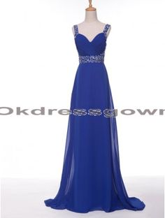 Off Shoulder Chiffon Sweet Heart Affordable Royal Blue prom dress with Spaghetti Straps