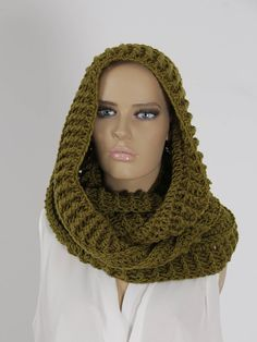 Crochet Olive Green Infinity Scarf Handmade Scarf Neck