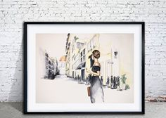 Watercolor painting of woman traveling in Italy by Amanda Steines in frame.