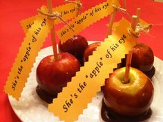 "'She's the ""apple"" of his eye!'  Sweet treat for a Fall wedding or Engagement party...easy and yummy caramel apple recipe"