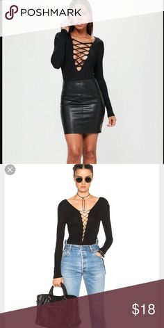Black lace up body suit Black lace up body suit purchased online. Size small worn once. Super cute just not my style. Tops