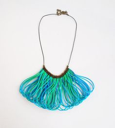 Blue and green necklace statement necklace fiber by elfinadesign