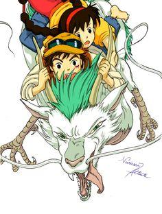 辰年 ~ by N845 from Pixiv Pom Poko, Tales From Earthsea, Secret World Of Arrietty, The Cat Returns, Studio Ghibli Movies, Castle In The Sky, Fantasy Films, Japanese Characters, Howls Moving Castle