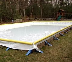 Building a backyard rink is a great way to play hockey at home with friends. Unf… Building a backyard rink is a great way to. Outdoor Hockey Rink, Backyard Hockey Rink, Rink Hockey, Backyard Ice Rink, Outdoor Skating Rink, Ice Skating, Backyard Bar, Hockey Mom, Front Garden Path