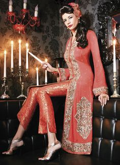 red gold anarkali. haha kind of looks like a pant suit but really tempted to get one of these