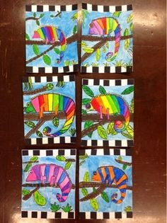 Fourth grade ends these fantastic chameleons this week! We drew . - Fourth grade ends these fantastic chameleons this week! We drew our cham … – grade finishes - Cameleon Art, Arte Elemental, 2nd Grade Art, Fourth Grade, Art And Craft Videos, Ecole Art, Kindergarten Art, Preschool, School Art Projects