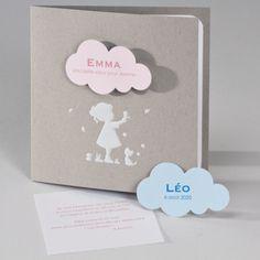 Buromac Baby Folly II 586032 Faire-part de naissance. Très joli faire-part en papier recyclé. Rehaussé d'un motif fille en blanc à chaud, il est livré avec une base imprimable blanche ainsi qu'une petite carte intégrée. Pour la petite touche fantaisie : 2 nuages rose et bleu vous sont livrés d'office.