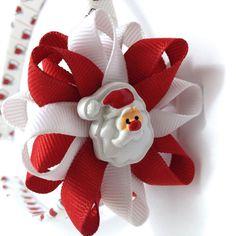 Santa Claus Hair Bow - Headband Set - Red, White Wrapped Headband - #Handmade #Etsy #Santa #Christmas