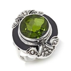 """Nicky Butler Round Gem and Enamel """"Deco"""" Ring"""