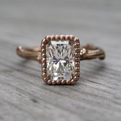 Emerald Moissanite Twig Engagement Ring: Rose Gold, Size 6.5, READY TO SHIP on Etsy, $1,575.00
