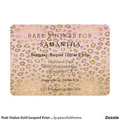 Pink Ombre Gold Leopard Print baby shower 5x7 Paper Invitation Card