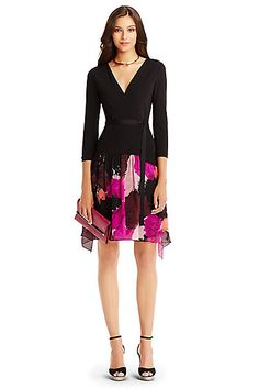 DVF Riviera Jersey and Chiffon Combo Wrap Dress in Black/ Dancing Explosion