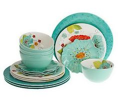 Laurie Gates Forget Me Nots 16-Piece Outdoor Dinnerware Set #summersets