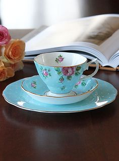 Royal Albert New Country Roses Polka Blue 3-Piece Set - Teacup, Saucer and Dessert Plate
