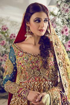 Designer Indian wedding dresses embellished with gotta, meena kari & sequins work. Fast delivery available for Designer Indian wedding dresses in USA Hira Mani, Bridal Shirts, Bridal Photoshoot, Pakistani Bridal Dresses, Designer Wedding Dresses, Designer Wear, How To Wear, Anarkali, Lehenga